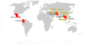 World Map Opium Heroin. Golden Triangle. Golden Crescent. Source Wikipedia