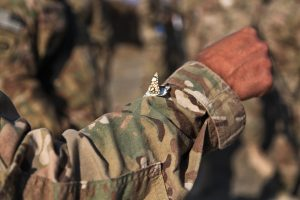 An Afghan butterfly on a soldier's sleeve.