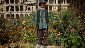 A gardener and his garden in Afghanistan. Afghans are avid garners.