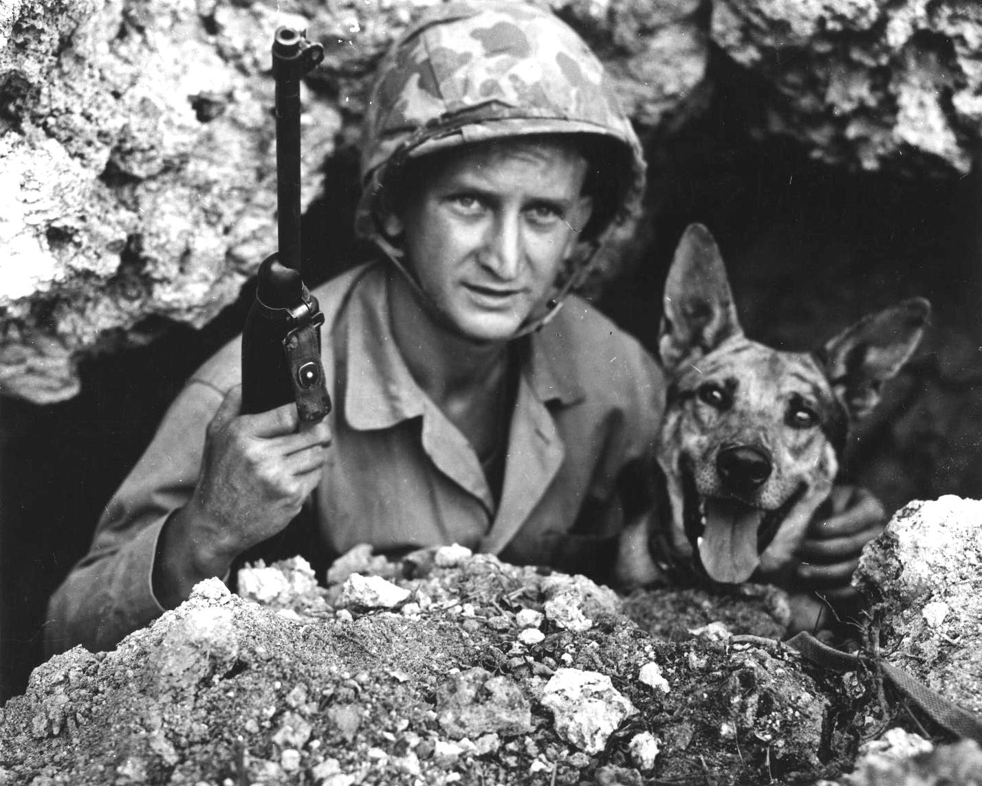 US Marine Private John Drugan and his war dog, Okinawa, Japan, May 1945 ww2dbase