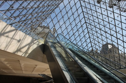 Louvre Museum. Glass Pyramid - down the escalator (ground floor- lower level) - fastest route to see the Mona Lisa