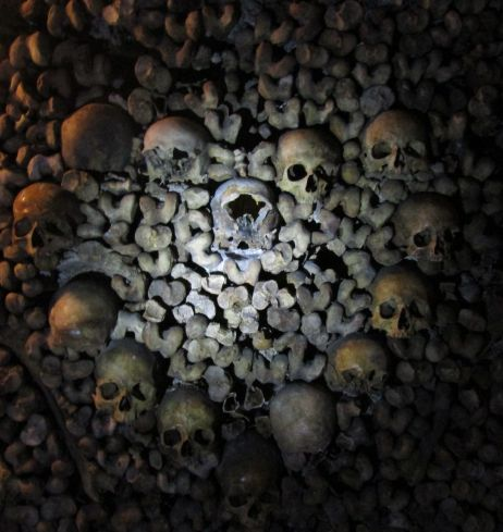 A heart made out of skulls. Paris Catacombs
