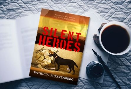 Maroons Autumn's chocolates. Coffee, Silent Heroes book, quill and ink pot.