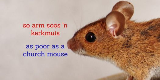 Afrikaanse vergelykings Afrikaans simile, so arm soos 'n kerkmuis = as poor as a church mouse
