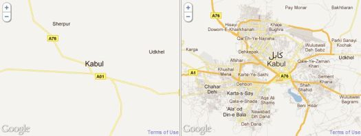 Afghanistan before and after the Map Makers have added details on Google Maps