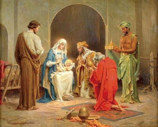 Charles Bosseron, Adoration of the Magi. oldest christmas carol Jesus Refulsit Omnium
