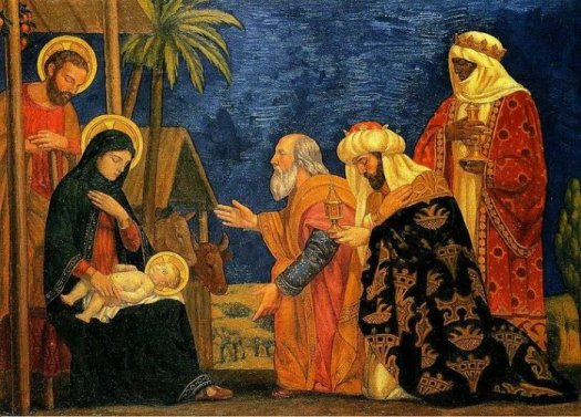 The Magi by Henry Siddons Mowbray, 1915 . oldest christmas carol Jesus Refulsit Omnium