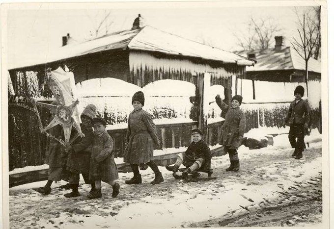 Romanian folklore myths legends, old  photo, carolers at Christmas in Romania