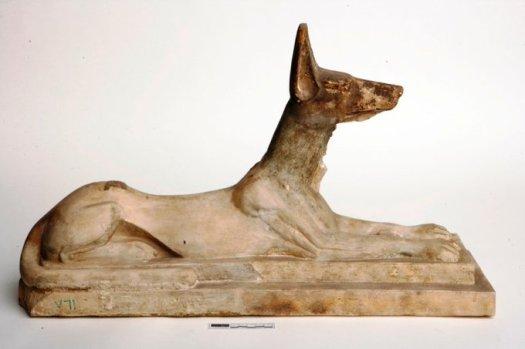 A limestone statue of Anubis