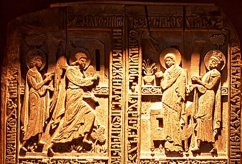 the Wooden Doors of a Medieval Chapel, Snagov Monastery. top panel - Feast of the Annunciation, Bunavestire.