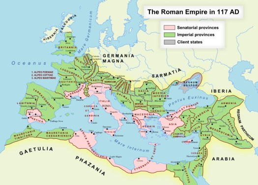 Roman Empire 117 AD and Dacia (today Romania). Source Andrei Nacu-Wikipedia