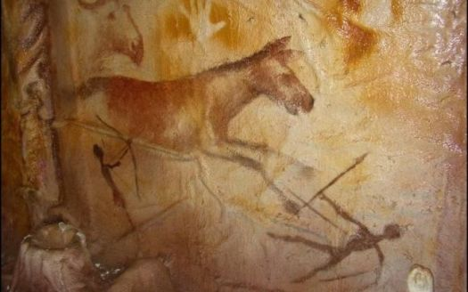 Behind the Cave Art of Transylvania. Paleolithic horse, hand, warrior, weapon painting in a cave at Cuciulat, Transylvania