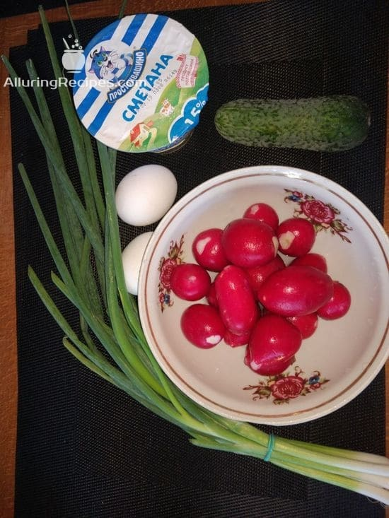 Ингредиенты для салата из редиски