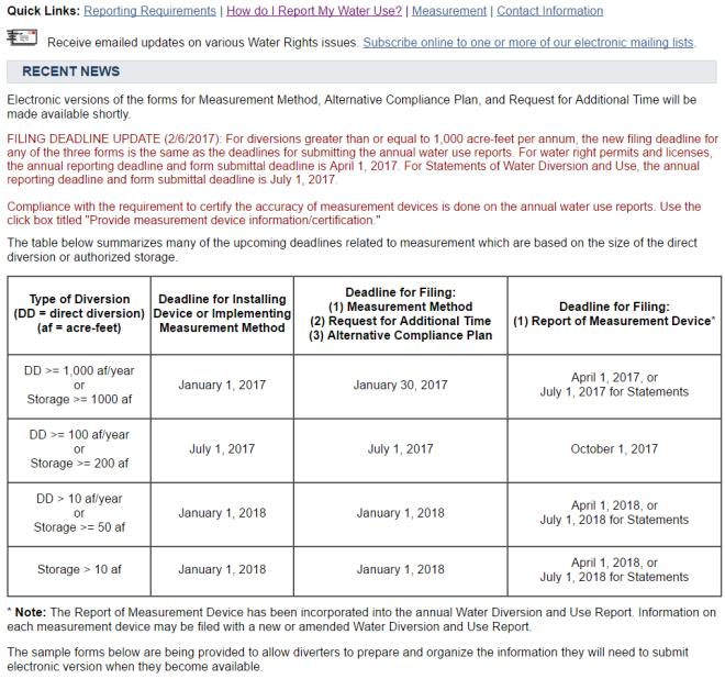 Feb. 6, 2017 Water Board Update on Filing Deadlines