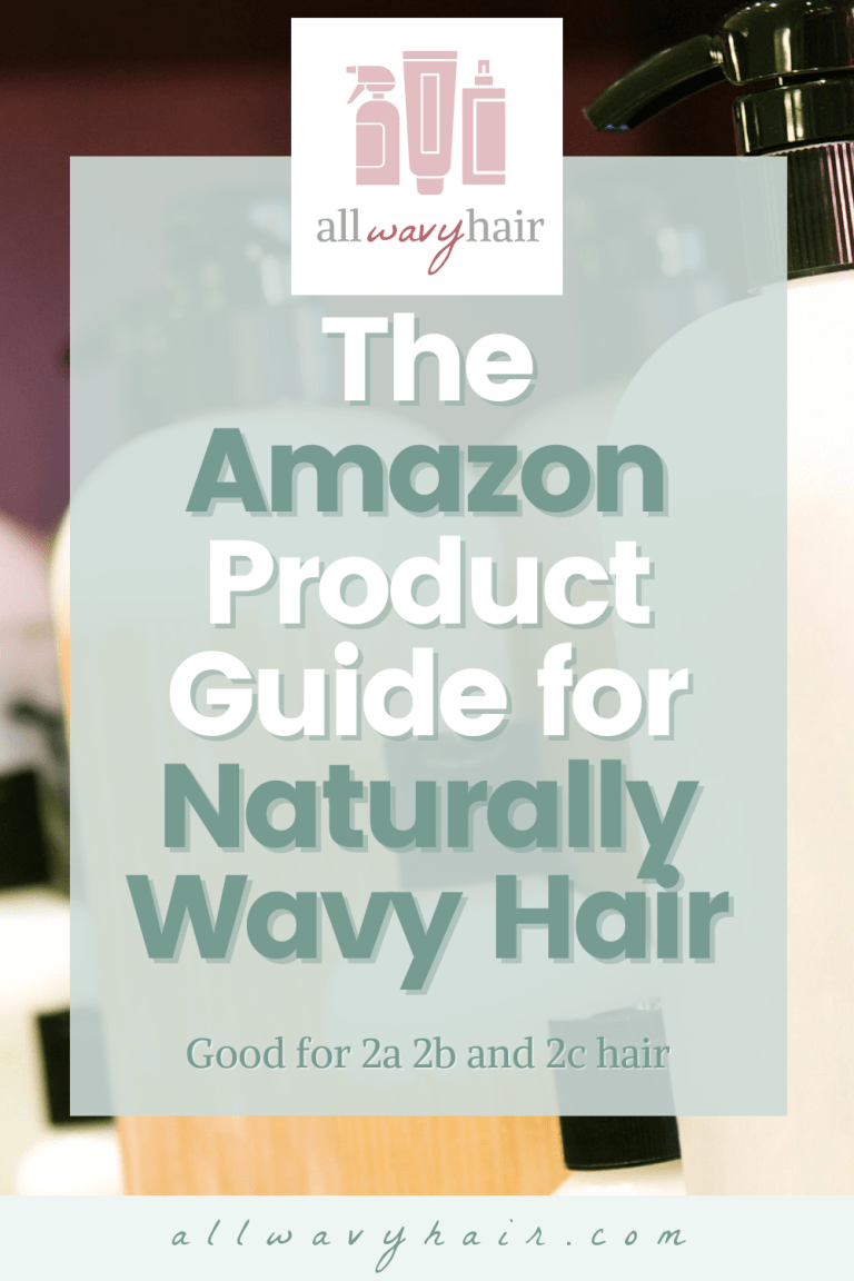 Amazon product guide for wavy hair overlayed on an image of label free hair product bottles