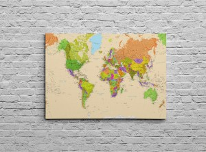 Pushpin canvas world map original design all ways artwork canvas world map colourful detailed physical world map beige gumiabroncs Choice Image