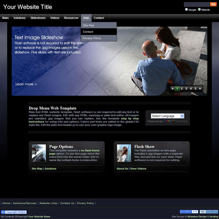 website templates sample bizzy