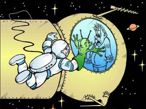 есть смешные картинки про день космонавтики был лысый, коротко