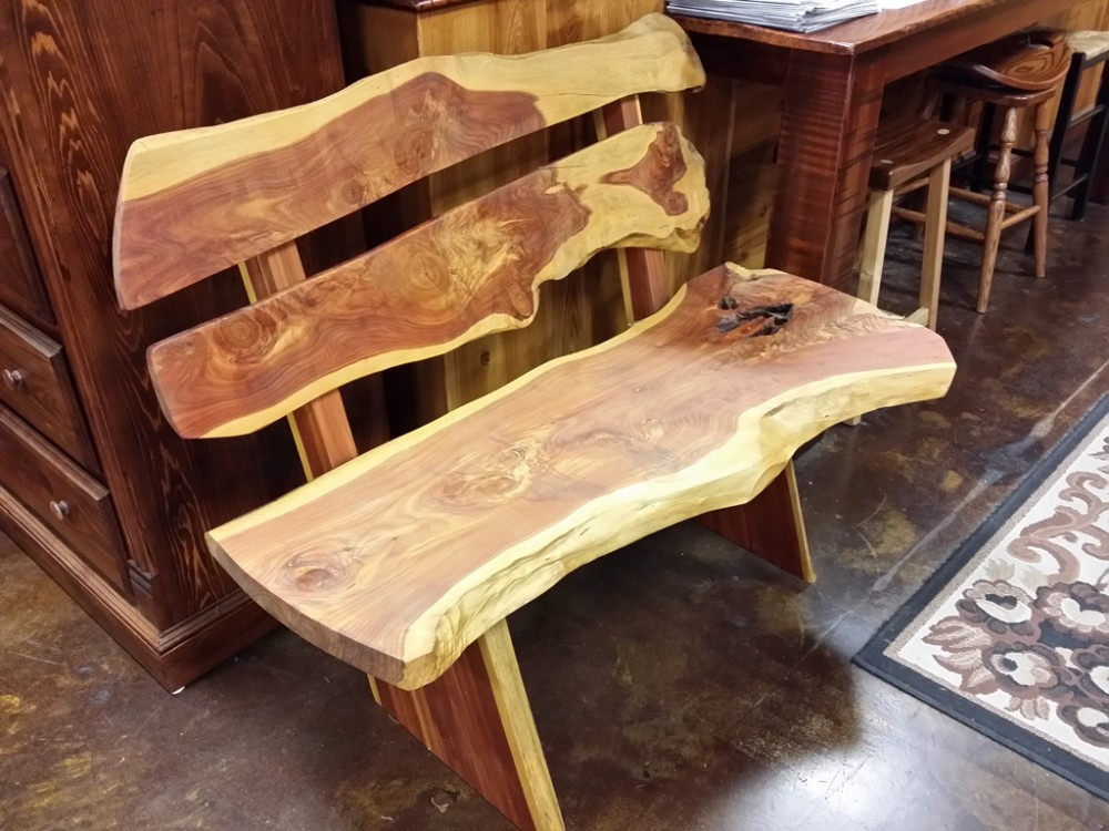 Live Edge Cedar Bench UL 20 SOLD ALL Wood Furniture