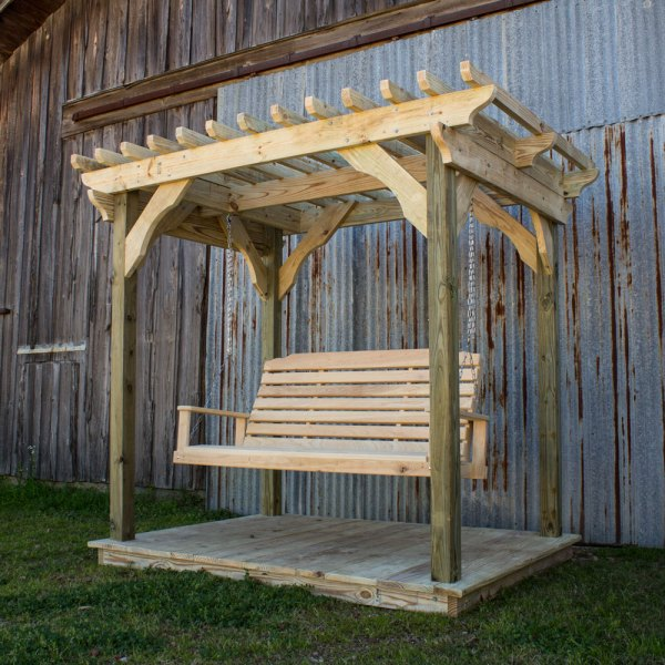 Mini Pergola With Deck And Lumbar Swing