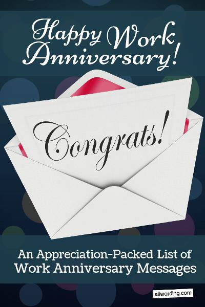 Happy 20th Work Anniversary Images : happy, anniversary, images, Appreciation-Packed, Anniversary, Messages, AllWording.com