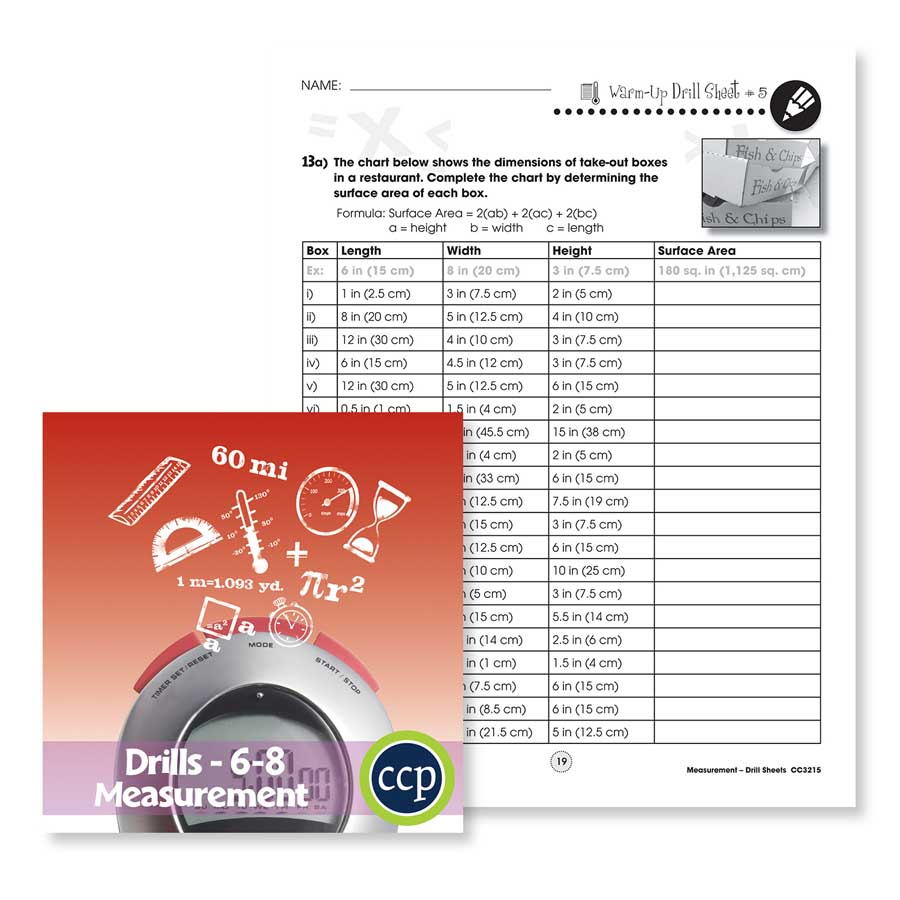 medium resolution of Measurement: Drill Sheet Sample Gr. 6-8 - WORKSHEET - Grades 6 to 8 - eBook  - Worksheet - Classroom Complete Press