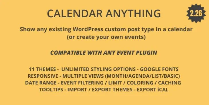 You are currently viewing Calendar Anything 2.26 – Show any existing WordPress custom post type in a calendar