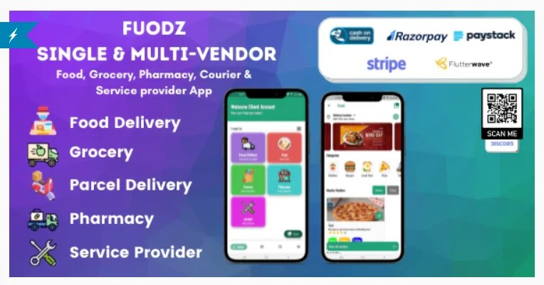 Read more about the article Fuodz 1.3.7 – Grocery, Food, Pharmacy Courier & Service Provider + Backend + Driver & Vendor app