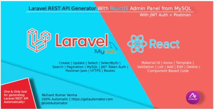 Read more about the article Laravel REST API Generator With React Admin Panel Generator + JWT Auth + Postman 1.0