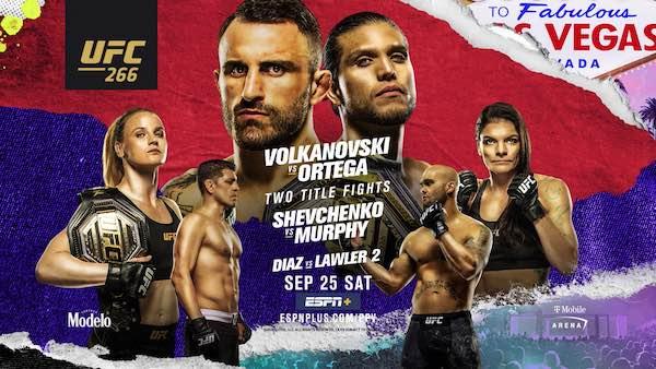 Watch Wrestling UFC 266: Volkanovski vs. Ortega 9/25/21