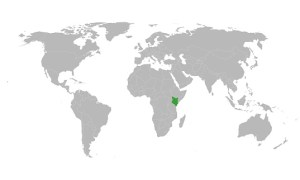 world map with Kenya highlighted
