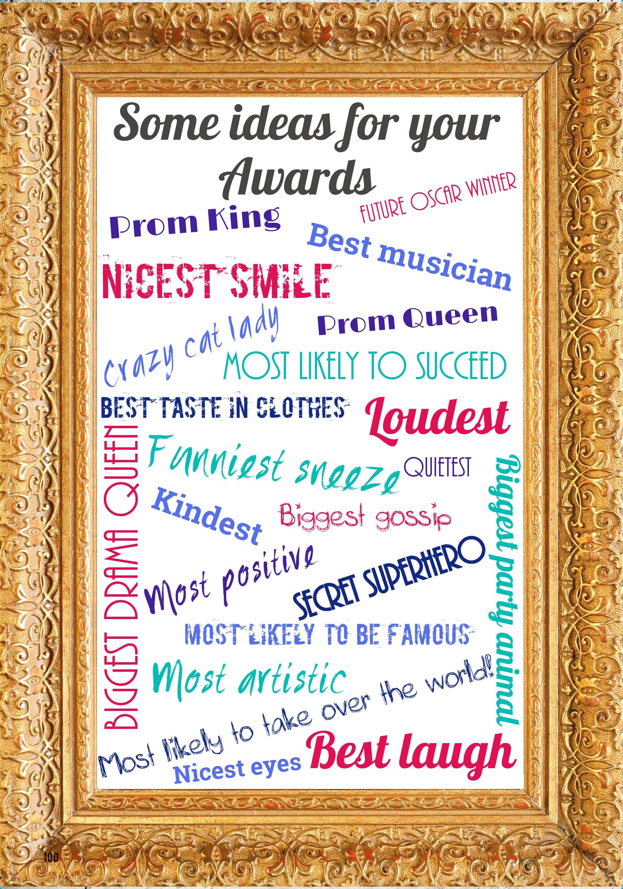 ideas for awards categories