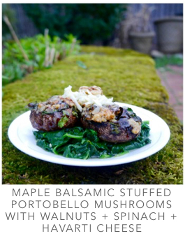 Maple Balsamic Stuffed Mushrooms with Walnuts, Spinach and Havarti