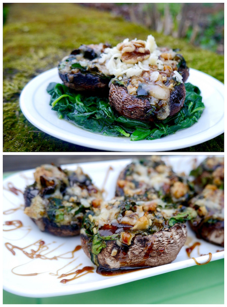 Maple Balsamic Stuffed Portobello Mushrooms with Havarti, Walnuts and Spinach