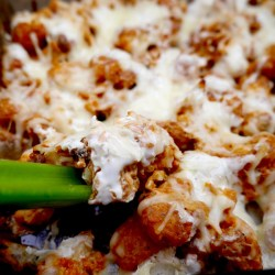 Buffalo Cauliflower Casserole with Celery Stick