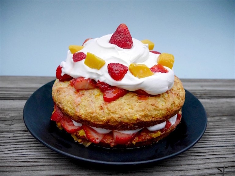 Strawberry Mango Shortcake with Coconut Whipped Cream