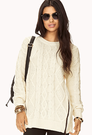 Forever 21 Zip Fisherman's Sweater