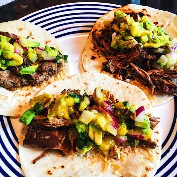 Slow Cooker Jerk Pork Tacos with Caribbean Salsa