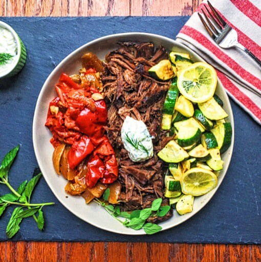 Greek Pot Roast with Homemade Tzatziki
