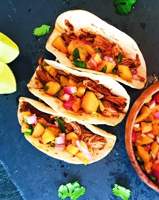 Spicy Coca Cola Pulled Pork Tacos with Peach Salsa