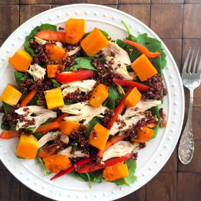 Baby Kale, Butternut Squash, Chicken, and Quinoa Salad