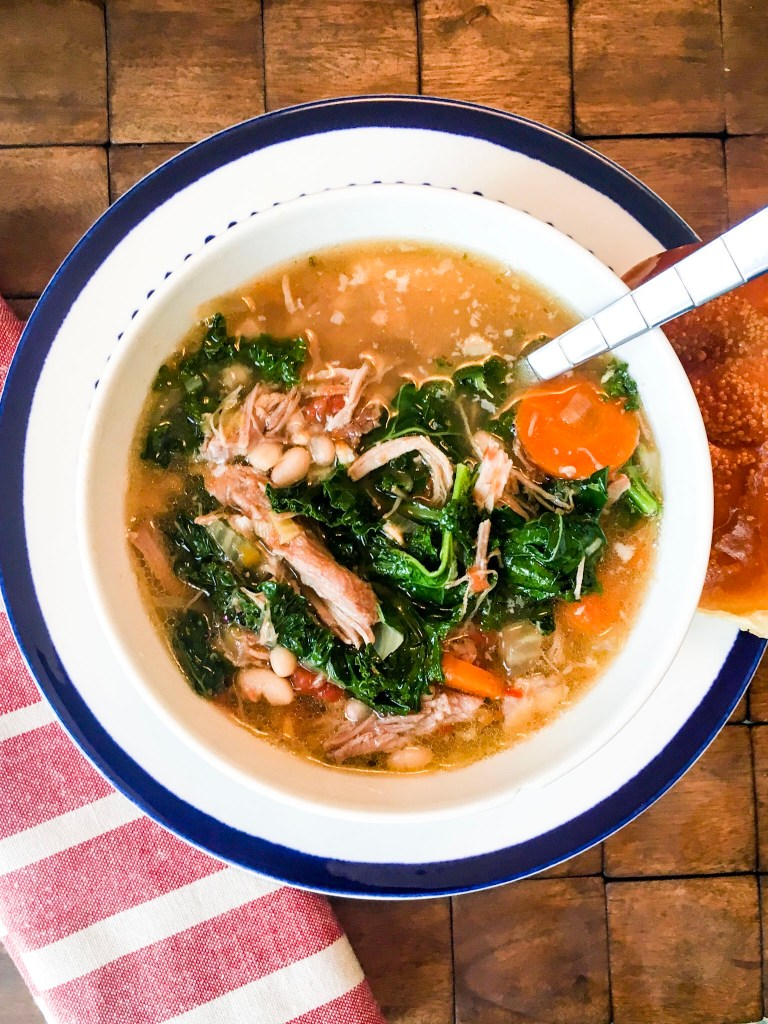 Slow Cooker Tuscan Soup with Pork, Beans, and Kale