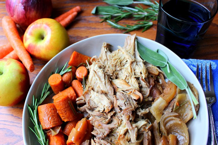 Autumn Crockpot Pork Roast with Apples and Onions