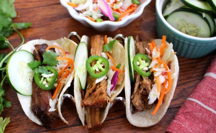 Crockpot Korean Barbecue Tacos with Asian Slaw