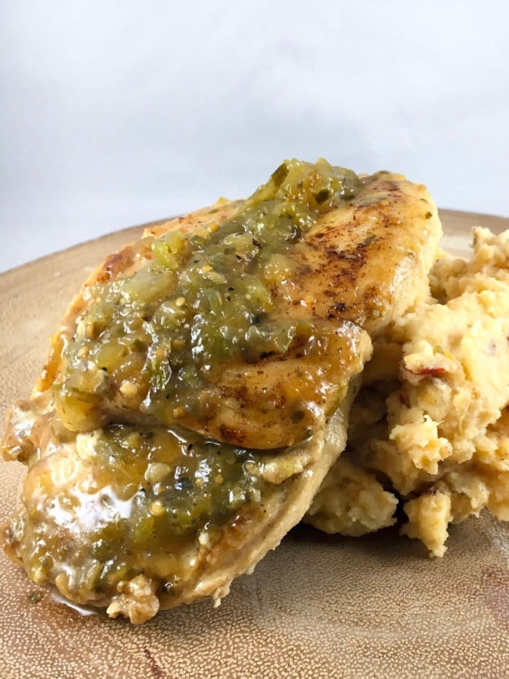 Two ingredient Salsa Verde Chicken with Chipotle Mashed Potatoes