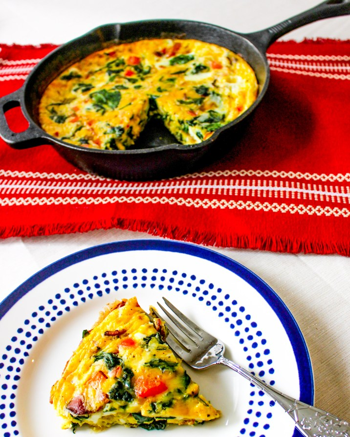 Cheesy Frittata with Bacon, Peppers, Spinach, and Onion