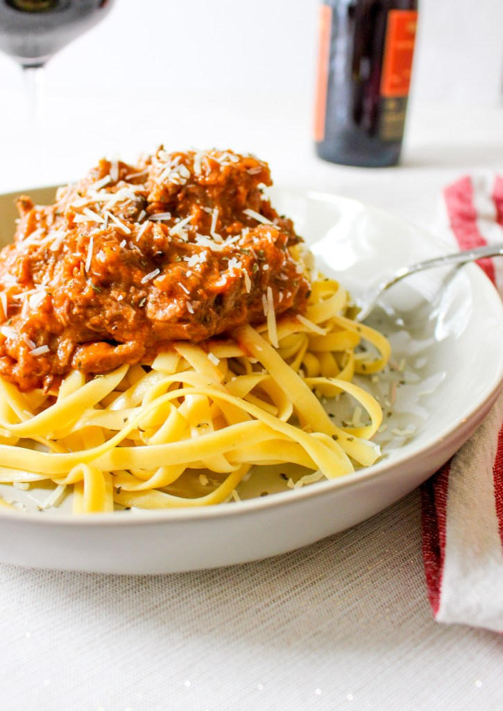 Fettuccine with Slow Cooker Beef Ragu Bolognese