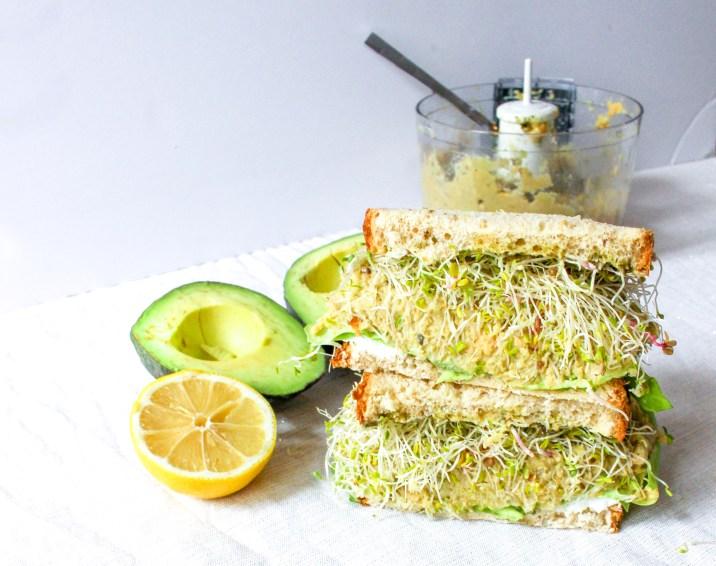Green Goddess Sandwich with Chickpea Avocado Mash