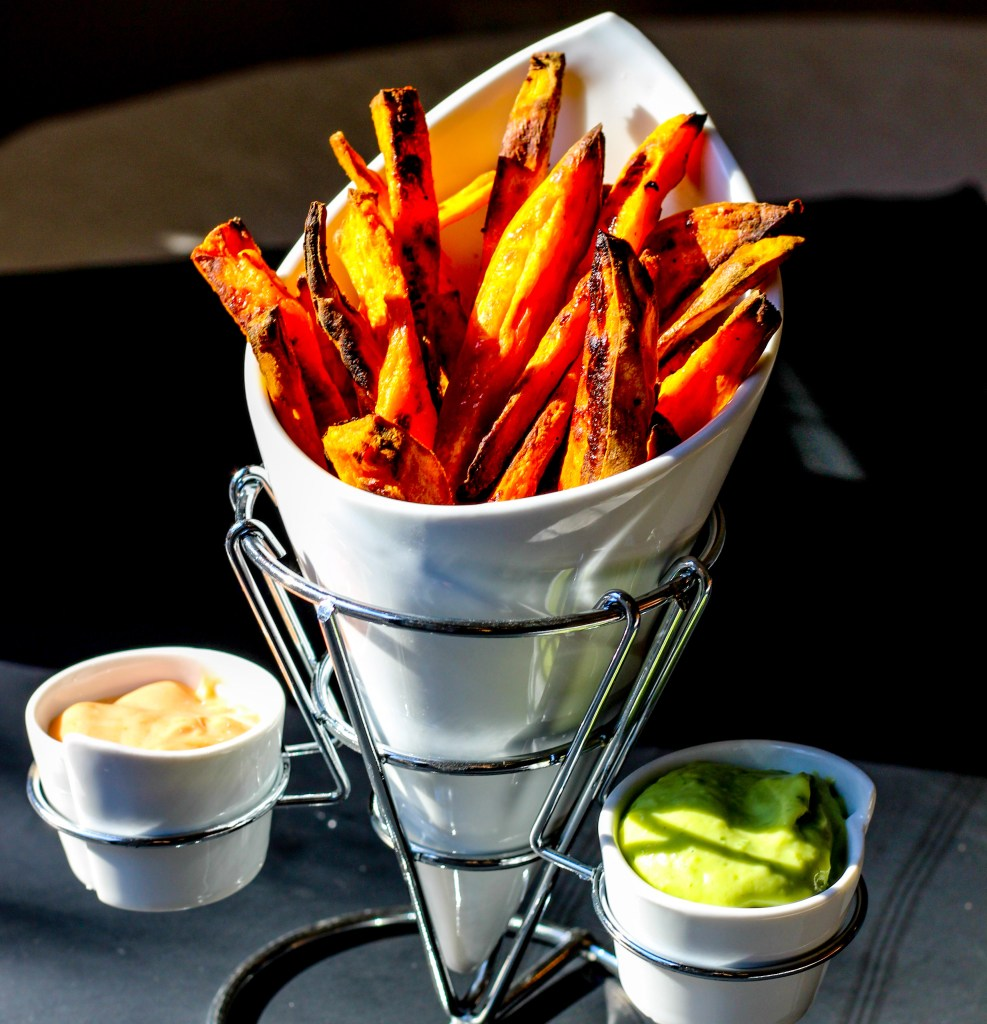 Oven Baked Sweet Potato Fries with a Duo of Sauces