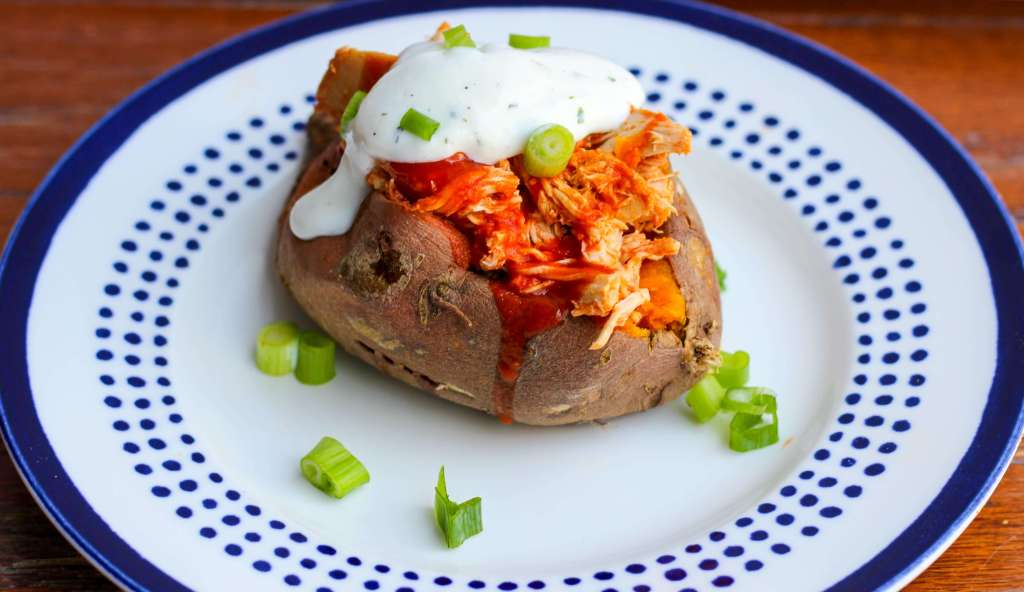 Buffalo Chicken Stuffed Sweet Potato with Greek Yogurt Ranch Dressing